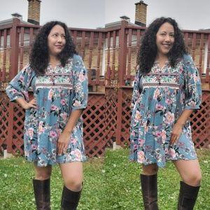 Slate Blue Floral Dress